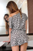 Petite Katie A Animal Print Dress Bathroom Strips Naked Beautiful Bald Pussy - Picture 1