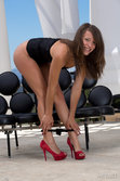 Gorgeous Malena Morgan Strips Her Ultra Sexy Black Corset Matching Red Stiletto Shoes All Over The Sofa - Picture 6